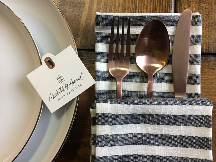 Hearth & Hand with Magnolia Napkins with West Elm god trim plates and rose gold flatwear