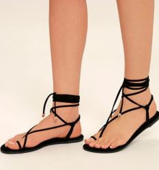 MICAH BLACK LACE-UP FLAT SANDALS LULUS - $19 https://www.lulus.com/products/micah-black-lace-up-flat-sandals/437852.html
