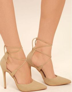DANI NUDE SUEDE LACE-UP HEELS - $44 https://www.lulus.com/products/dani-nude-suede-lace-up-heels/400422.html