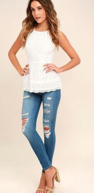 BE TRUE WHITE LACE PEPLUM TOP $52 - https://www.lulus.com/products/be-true-white-lace-peplum-top/411272.html