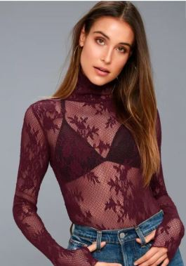 FREE PEOPLE SWEET SECRETS PLUM PURPLE LACE TURTLENECK TOP $40 - https://www.lulus.com/products/free-people-sweet-secrets-plum-purple-lace-turtleneck-top/582172.html