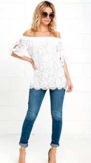 ETHEREAL VIEW IVORY LACE OFF-THE-SHOULDER TOP $44 - https://www.lulus.com/products/ethereal-view-ivory-lace-off-the-shoulder-top/315362.html