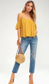 GOT ME MOVING GOLDEN YELLOW OFF-THE-SHOULDER TOP $30 - https://www.lulus.com/products/got-me-moving-golden-yellow-off-the-shoulder-top/390672.html