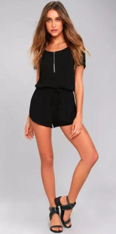 KUDOS BLACK ROMPER $45 - https://www.lulus.com/products/kudos-black-romper/459542.html