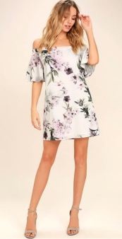 DREAM OF YOU IVORY FLORAL PRINT OFF-THE-SHOULDER SHIFT DRESS $49 - https://www.lulus.com/products/dream-of-you-ivory-floral-print-off-the-shoulder-shift-dress/421952.html