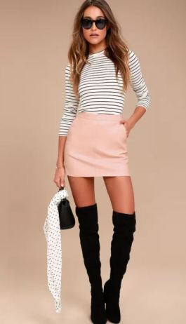 HARLEY BLUSH PINK VEGAN LEATHER MINI SKIRT $45 - https://www.lulus.com/products/harley-blush-pink-vegan-leather-mini-skirt/503312.html