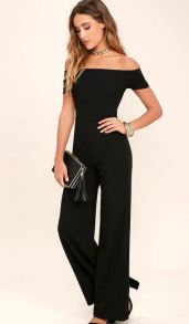 ALLEYOOP BLACK OFF-THE-SHOULDER JUMPSUIT $52 - https://www.lulus.com/products/alleyoop-black-off-the-shoulder-jumpsuit/361492.html