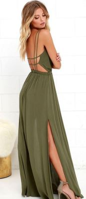 LOST IN PARADISE OLIVE GREEN MAXI DRESS $59 - https://www.lulus.com/products/lost-in-paradise-olive-green-maxi-dress/289412.html