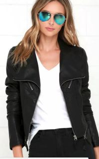 UP ON A TUESDAY BLACK VEGAN LEATHER JACKET - $71 https://www.lulus.com/products/up-on-a-tuesday-black-vegan-leather-jacket/256770.html