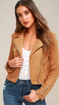 SUEDE WITH LOVE TAN SUEDE MOTO JACKET - $97 https://www.lulus.com/products/suede-with-love-tan-suede-moto-jacket/262434.html