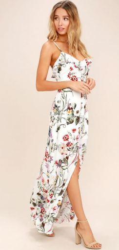 BLOOM ON IVORY FLORAL PRINT MAXI DRESS $80 - https://www.lulus.com/products/bloom-on-ivory-floral-print-maxi-dress/414182.html