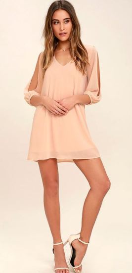 SHIFTING DEARS BLUSH PINK LONG SLEEVE DRESS $46 - https://www.lulus.com/products/shifting-dears-blush-pink-long-sleeve-dress/419362.html