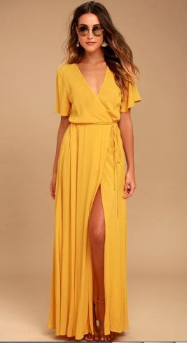 MUCH OBLIGED GOLDEN YELLOW WRAP MAXI DRESS $69 - https://www.lulus.com/products/much-obliged-golden-yellow-wrap-maxi-dress/460442.html