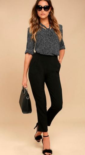KICK IT BLACK TROUSER PANTS $44 - https://www.lulus.com/products/kick-it-black-trouser-pants/319032.html