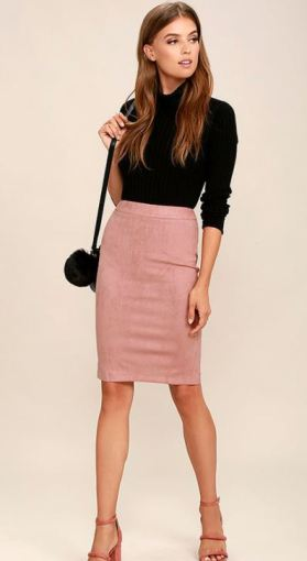 SUPERPOWER BLUSH SUEDE PENCIL SKIRT $36 - https://www.lulus.com/products/superpower-blush-suede-pencil-skirt/371472.html