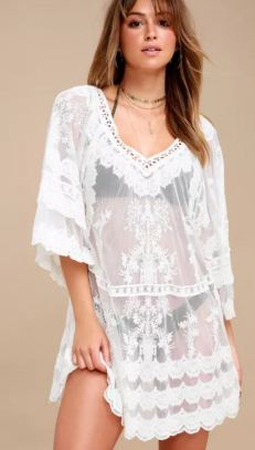 LACE-Y DAYS WHITE CROCHET COVER-UP $52 - https://www.lulus.com/products/lace-y-days-white-crochet-cover-up/572332.html