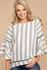 Lost In The Stripes Grey Striped Top $36 - https://www.reddressboutique.com/collections/all-clothing/products/lost-in-the-stripes-grey-striped-top