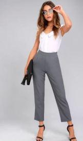 KICK IT GREY TROUSER PANTS $44 - https://www.lulus.com/products/kick-it-grey-trouser-pants/319052.html