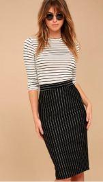 LINE UP BLACK PINSTRIPE PENCIL SKIRT $30 - https://www.lulus.com/products/line-up-black-pinstripe-pencil-skirt/571692.html