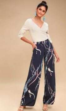 NOREL NAVY BLUE PRINT WIDE-LEG PANTS $95 - https://www.lulus.com/products/norel-navy-blue-print-wide-leg-pants/564502.html