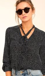 ON THE SPOT BLACK POLKA DOT BUTTON-UP TOP $52 - https://www.lulus.com/products/on-the-spot-black-polka-dot-button-up-top/459412.html