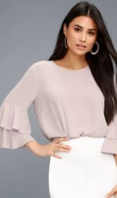 STASSI TAUPE FLOUNCE SLEEVE TOP $36 - https://www.lulus.com/products/stassi-taupe-flounce-sleeve-top/624022.html