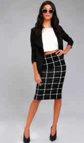 STRIKE A POSE BLACK AND WHITE GRID PRINT PENCIL SKIRT $31 - https://www.lulus.com/products/strike-a-pose-black-and-white-grid-print-pencil-skirt/507692.html