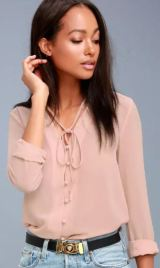 STYLE EDUCATION BLUSH PINK BLOUSE $38 - https://www.lulus.com/products/style-education-blush-pink-blouse/380722.html