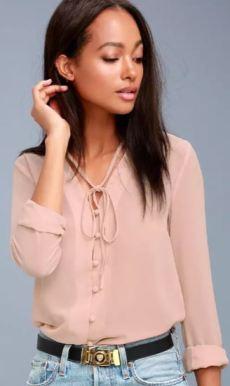 STYLE EDUCATION BLUSH PINK BLOUSE $38 - https://www.lulus.com/products/style-education-blush-pink-blouse/380722.html