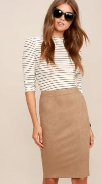 SUPERPOWER TAN SUEDE PENCIL SKIRT $36 - https://www.lulus.com/products/superpower-tan-suede-pencil-skirt/371482.html
