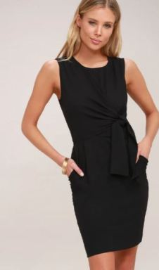 ZEALOUS LOVE BLACK TIE-FRONT MIDI DRESS $56 - https://www.lulus.com/products/zealous-love-black-tie-front-midi-dress/585772.html