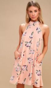 MERCI BOUQUET BLUSH FLORAL PRINT MOCK NECK SWING DRESS $49 - https://www.lulus.com/products/merci-bouquet-blush-floral-print-mock-neck-swing-dress/612962.html