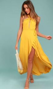 MARISHA GOLDEN YELLOW HALTER WRAP DRESS $76 - https://www.lulus.com/products/marisha-golden-yellow-halter-wrap-dress/424492.html