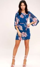 JOYFUL NOISE DENIM BLUE FLORAL PRINT MINI DRESS $59 - https://www.lulus.com/products/joyful-noise-denim-blue-floral-print-mini-dress/441682.html